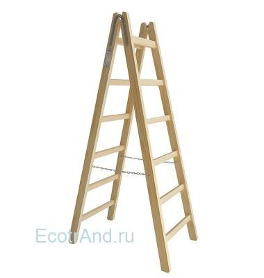 Деревянная стремянка двухсторонняя Вира 6 ступеней